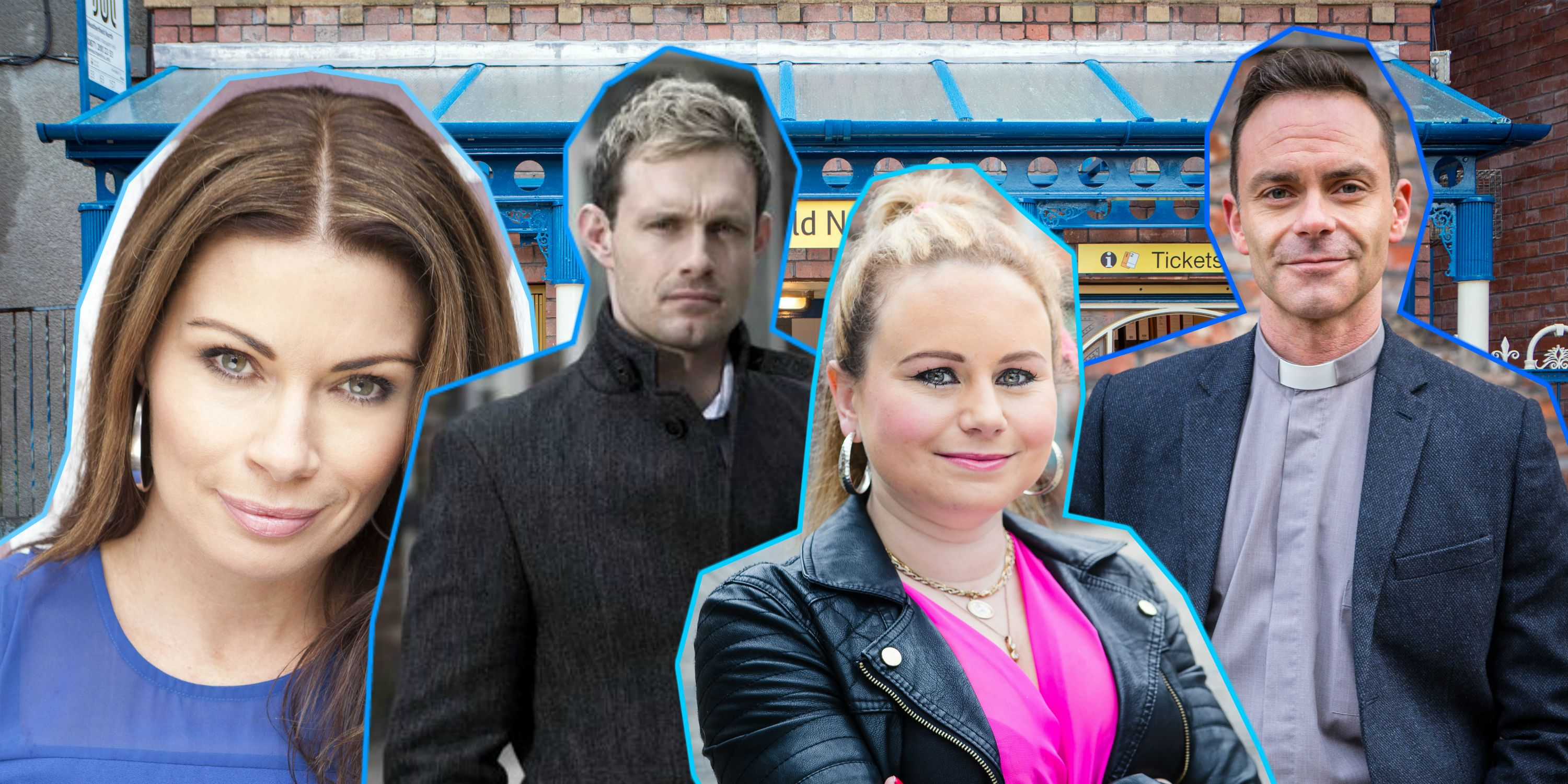 Coronation Street, Carla Connor (Alison King), Nick Tilsley (Ben Price), Gemma Winter (Dolly-Rose Campbell) and Billy Mayhew (Daniel Brocklebank)