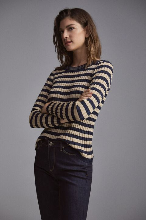 jersey con estampado de rayas de lúrex, cortefiel