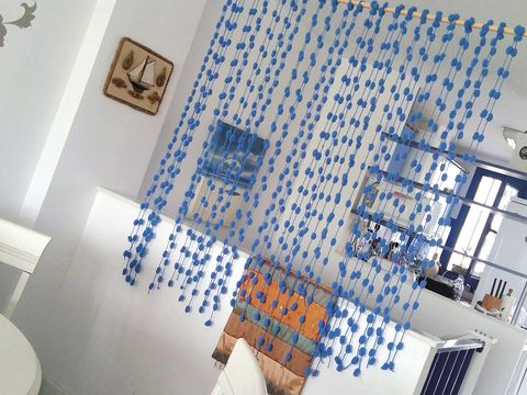 Blue, Wall, Room, Tile, Interior design, Textile, Pattern, Design, Floor, Architecture,