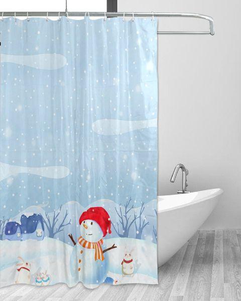 Cortina de ducha estampada con un muñeco de nieve