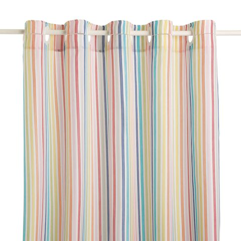 Cortina de ducha de rayas de colores, antimoho