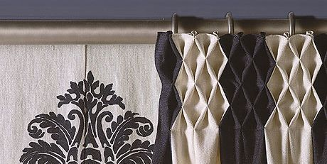 Curtain, Interior design, Textile, Window treatment, Linen, Room, Beige, Linens, Shower curtain, Pattern,