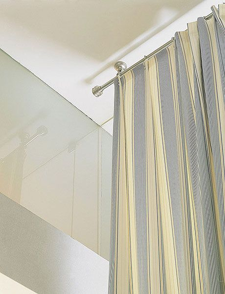 Room, Curtain, Wall, Interior design, Textile, Ceiling, Line, Architecture, Shower curtain, Beige,
