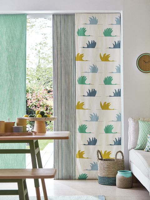 Curtain, Green, Interior design, Window treatment, Aqua, Room, Turquoise, Teal, Yellow, Textile,