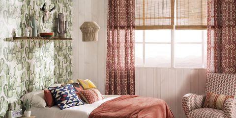 Furniture, Curtain, Room, Interior design, Bed, Bedroom, Bed frame, Window treatment, Bed sheet, Bedding,