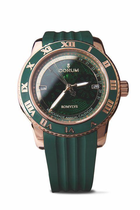 Watch, Analog watch, Watch accessory, Green, Strap, Fashion accessory, Material property, Hardware accessory, Brand, Jewellery,