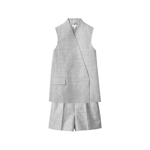 linnenblend mouwloze blazer met bijpassende korte broek