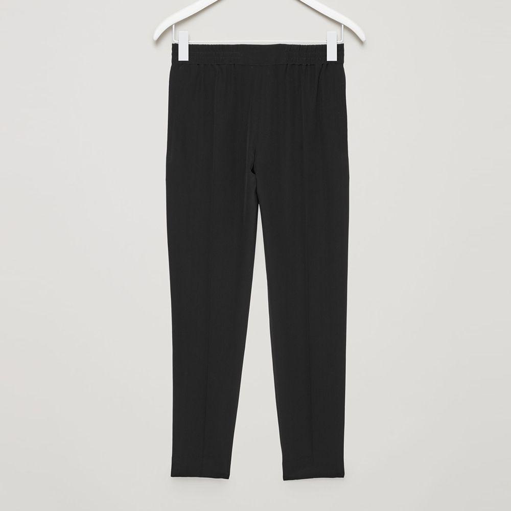 cos silk drawstring trousers black