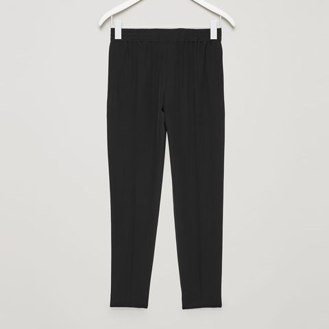 cos silk drawstring trousers black