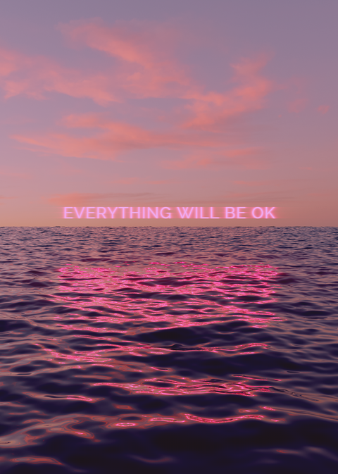neon everything will be ok over water