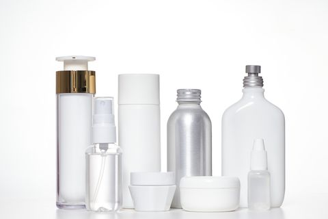 cosmetic products on white background