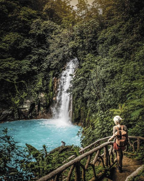 costa rica, waterfall in forest