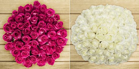 pink roses and white roses