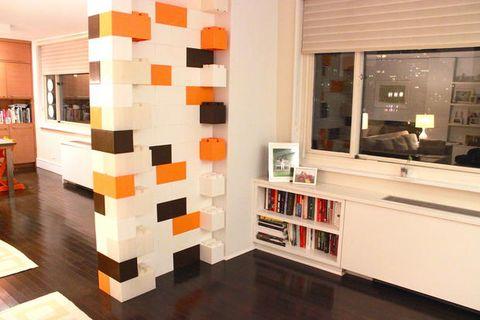 Interior design, Floor, Room, Flooring, Wall, Orange, Interior design, Shelving, Shelf, Collection,