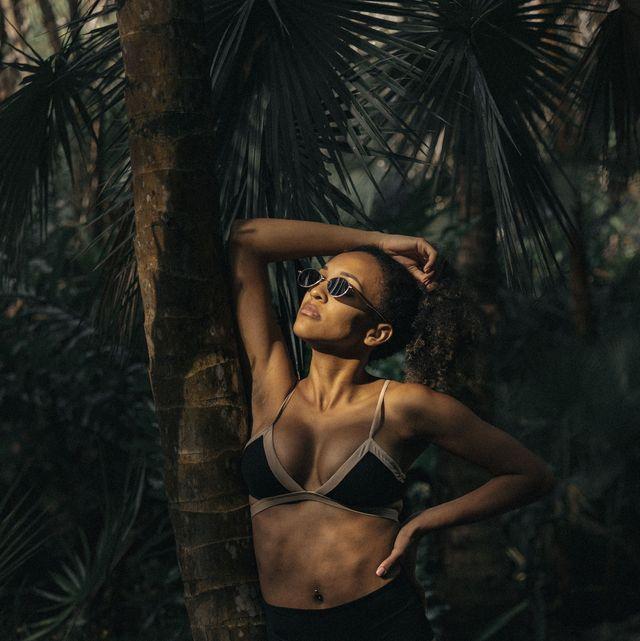 Lingerie, Black, Beauty, Model, Fashion, Undergarment, Tree, Photography, Muscle, Leg,