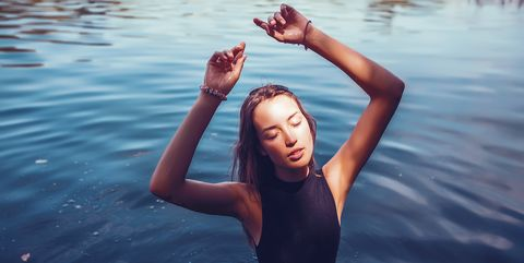 Water, Facial expression, Blue, Fun, Beauty, Happy, Smile, Arm, Hand, Reflection,