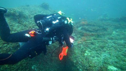 Scuba diving, Divemaster, Underwater diving, Underwater, Dry suit, Diving equipment, Aquanaut, Buoyancy compensator, Marine biology, Organism,
