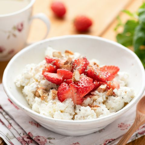 cottage cheese with strawberries and chia seeds