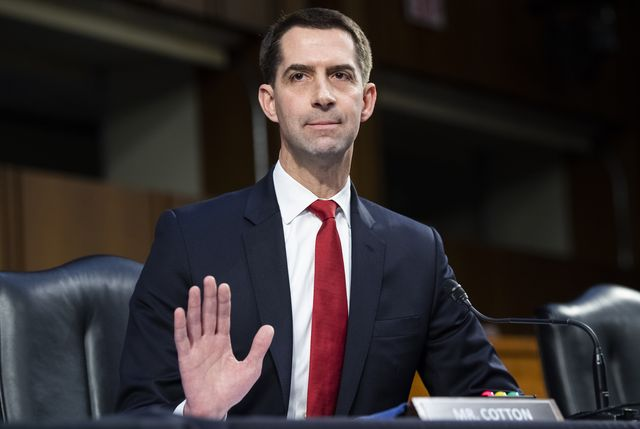 united states   march 09 sen tom cotton, r ark, asks a question during the senate judiciary committee confirmation hearing for lisa monaco, nominee for deputy attorney general, and vanita gupta, nominee for associate attorney general, in hart building on tuesday, march 9, 2021 photo by tom williamscq roll call