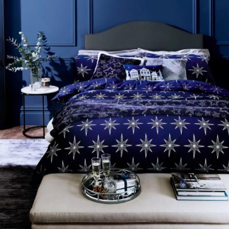 cotton mix metallic star bedding set