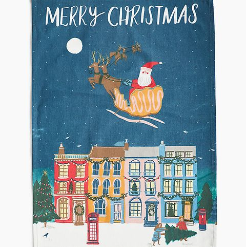 Cotton Santa Print Tea Towel