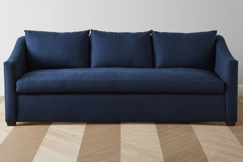 Couch, Furniture, Blue, Sofa bed, studio couch, Floor, Room, Slipcover, Loveseat, Laminate flooring,