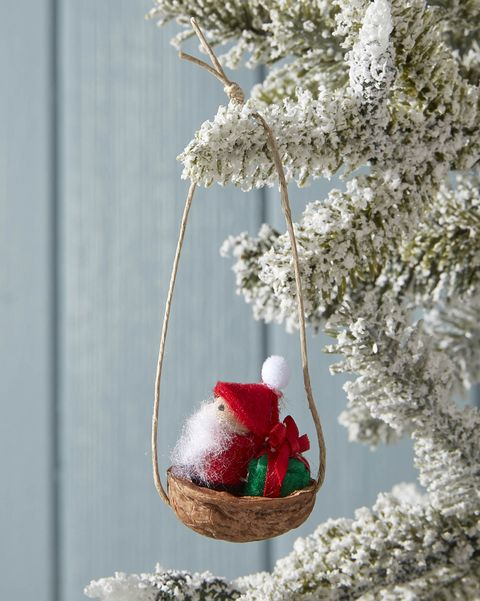 mini santa sleigh ornament