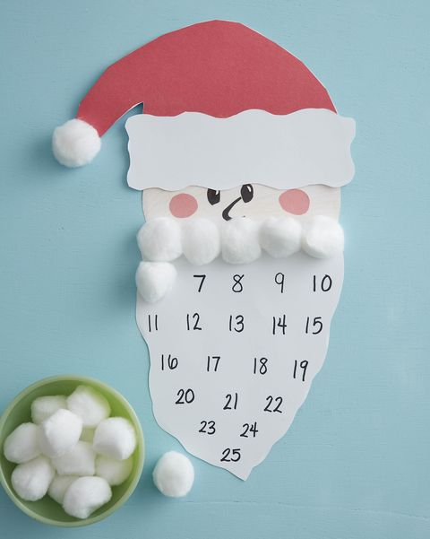 santa advent calendar with cotton balls