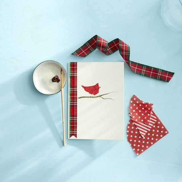 tissue paper bird on a diy holiday card