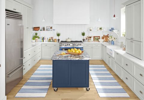 country living kitchen overall blue island