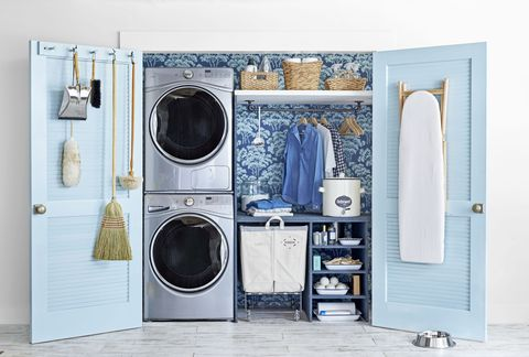 Small Laundry Room Blue Doors