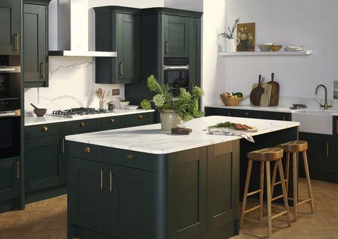 Room, Green, White, Floor, Interior design, Kitchen, Cabinetry, Major appliance, House, Kitchen stove,