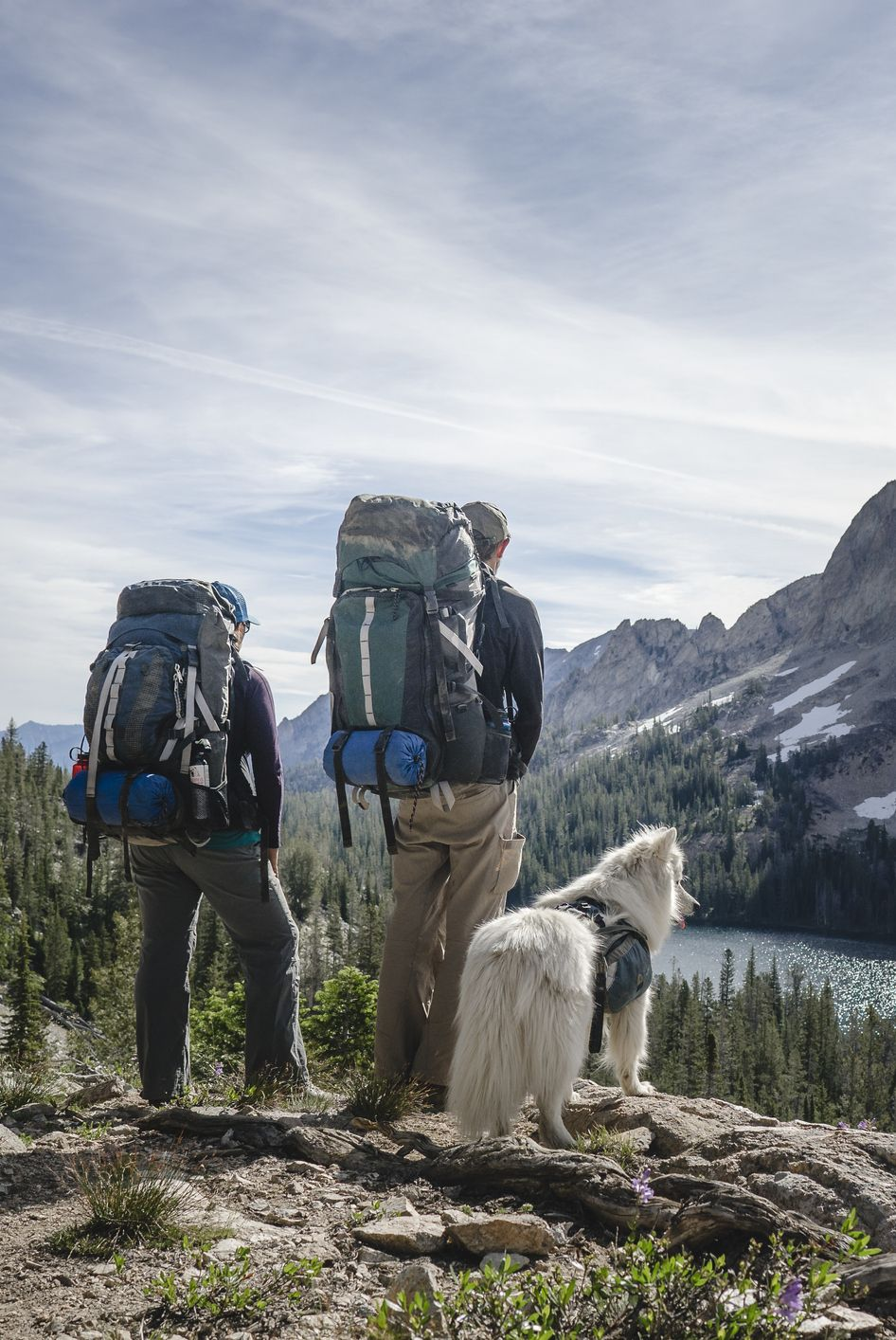 Couple backpacking with dog