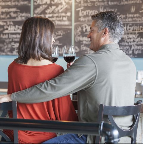 couple drinking wine together at bar