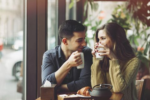 Couple in love drinking coffee in coffee shop