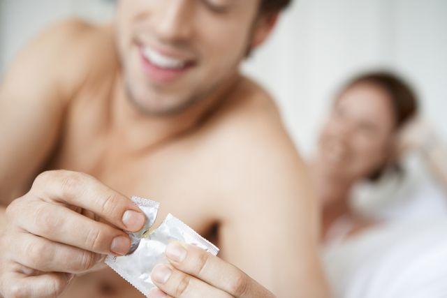 couple practicing safe sex