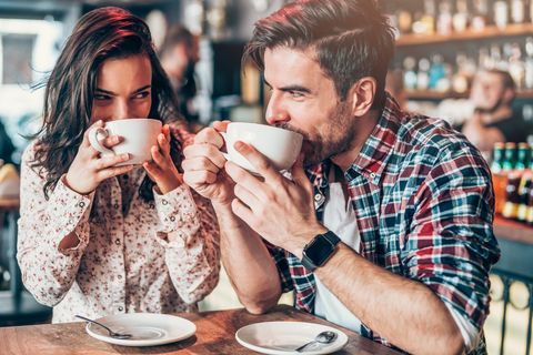 couple relaxing in a cafe