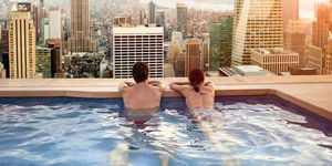 pool, rooftop pool, swimming pool, couple, holiday