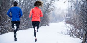 Couple Running in the winter