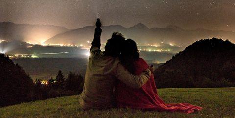 Sky, Photograph, Night, Light, Star, Love, Atmosphere, Tree, Astronomical object, Romance,