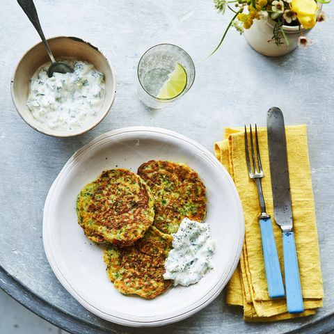 Courgette, Mint and Goats Cheese Fritters with Tzatziki