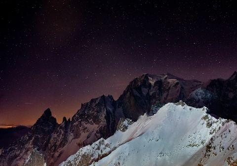 Sky, Mountainous landforms, Mountain, Mountain range, Night, Geological phenomenon, Atmosphere, Summit, Alps, Star,