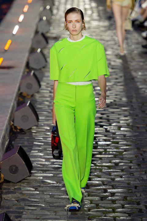 Fashion, Green, Fashion model, Runway, Fashion show, Clothing, Street fashion, Yellow, Haute couture, Spring,