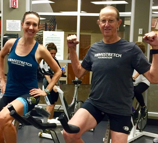 kathryn bertine and her dad at a spin class