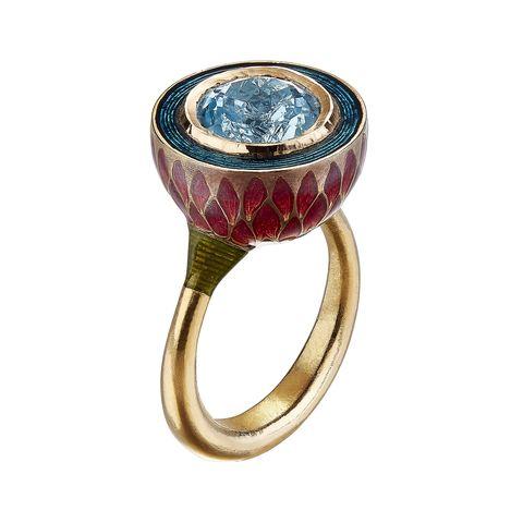 Ring, Jewellery, Fashion accessory, Engagement ring, Gemstone, Magenta, Sapphire, Turquoise, Diamond, Body jewelry,