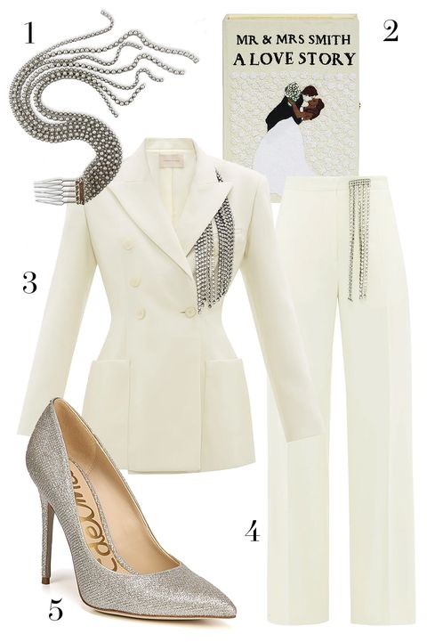 christopher kane blazer, christopher kane pants, sam edelman pumps, lelet ny chain hair comb, olympia le tan wedding clutch