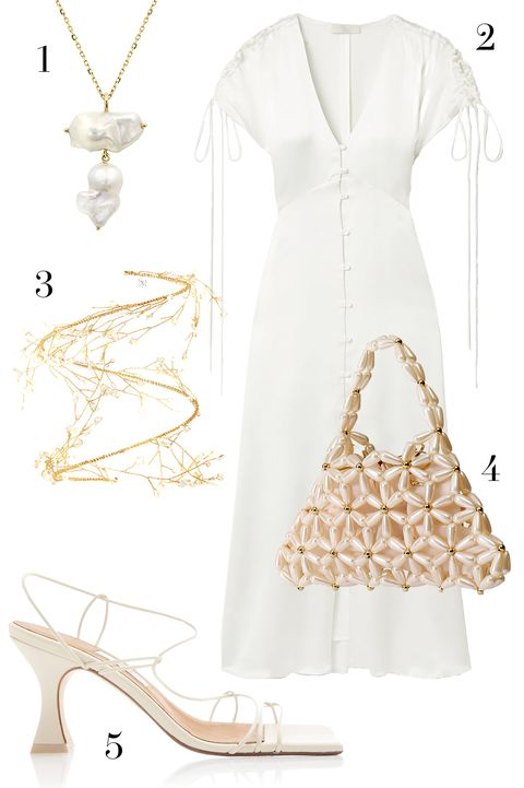 vanessa cocchiaro dress, vanina beaded bag, whitesoace double pearl necklace, missta sandals, 14quatorzo bracelet