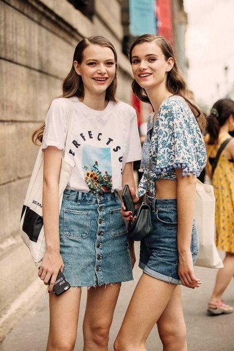 Clothing, Street fashion, Fashion, People, Blue, Shoulder, Denim, Thigh, Shorts, Beauty,