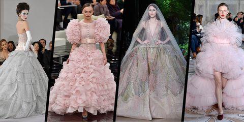 Sleeve, Dress, Textile, Pink, Bridal clothing, Formal wear, Gown, Wedding dress, Veil, Petal,