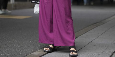 Clothing, Pink, Street fashion, Purple, Fashion, Waist, Magenta, Dress, Leg, Trousers,